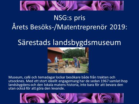 NSGs pris. Årets besöks/Matentreprenör 2019.